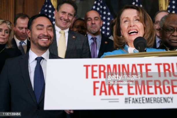 Speaker of the House Nancy Pelosi is joined by Rep Joaquin Castro and other House Democrats for a news conference on the Privileged Resolution to...