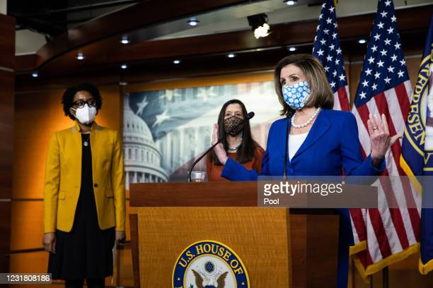 Speaker of the House Nancy Pelosi is joined by Rep. Lauren Underwood, , and Rep. Teresa Leger-Fernandez, during a news conference in the U.S. Capitol...
