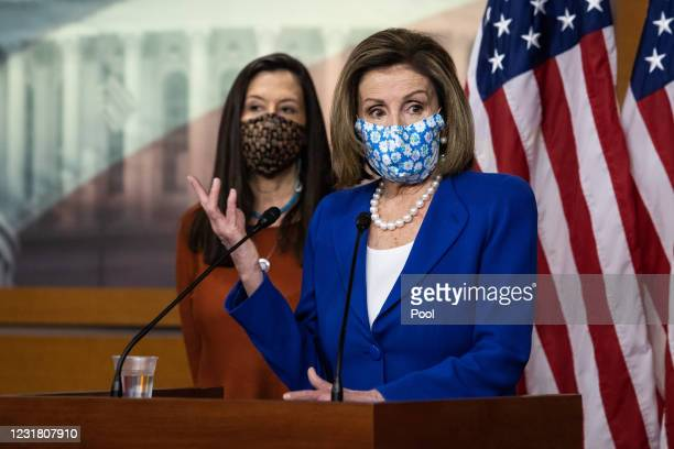 Speaker of the House Nancy Pelosi is joined by Rep. Teresa Leger-Fernandez, during a news conference in the U.S. Capitol Visitors Center on March 19,...