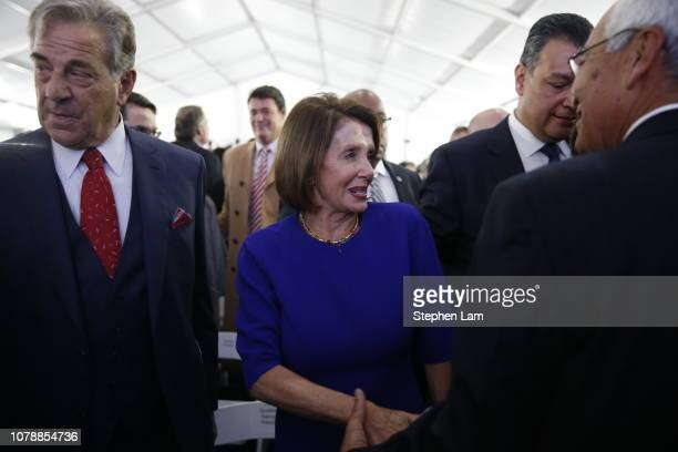 Speaker of the House Nancy Pelosi is seen after the inauguration of Gavin Newsom as California's 40th governor on January 7 2019 in Sacramento...