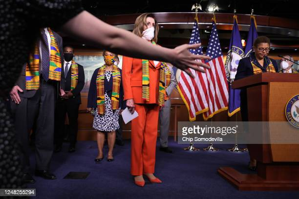 Speaker of the House Nancy Pelosi joins fellow Democrats from the House and Senate to announce new legislation to end excessive use of force by...