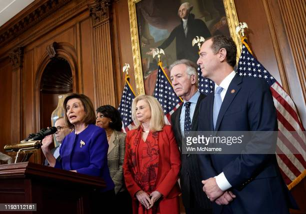 Speaker of the House Nancy Pelosi joins with House investigative committee chairs Rep Jerry Nadler Rep Maxine Waters Rep Carolyn Maloney Rep Richard...