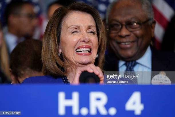 Speaker of the House Nancy Pelosi laughs before speaking about the Voting Rights Enhancement Act HR 4 on Capitol Hill on February 26 2019 in...