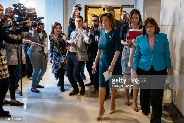 Speaker of the House Nancy Pelosi leaves a closeddoor briefing from Vice President Mike Pence and Anthony Fauci Director of the National Institute of...