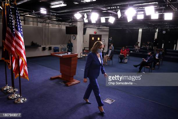 Speaker of the House Nancy Pelosi leaves following a news conference in the U.S. Capitol Visitors Center on March 19, 2021 in Washington, DC. Pelosi...