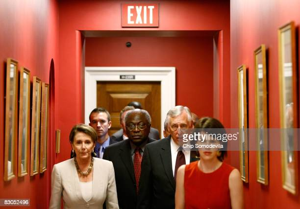 Speaker of the House Nancy Pelosi Majority Whip James Clyburn and House Majority Leader Steny Hoyer head for a news conference on Capitol Hill...