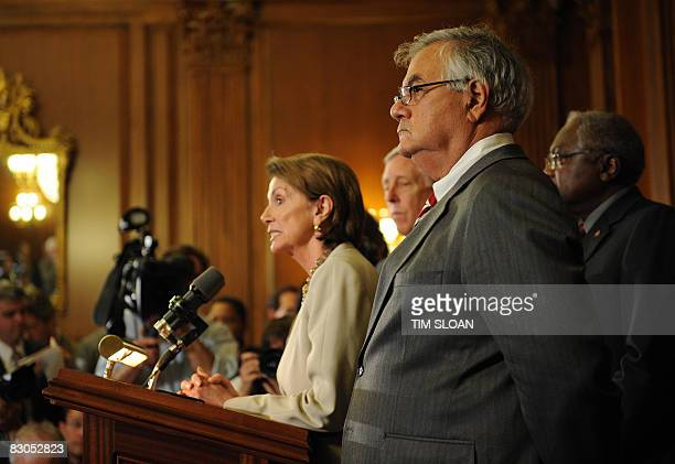 US Speaker of the House Nancy Pelosi makes remarks to the press with the Democratic leadership members including Banking Chairman Rep Barney Frank...