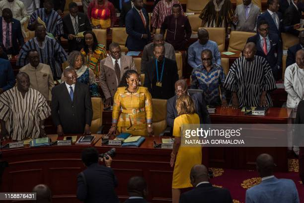 US Speaker of the House Nancy Pelosi meets members of Parliament at the Ghana's parliament in Accra on July 31 2019 during a threeday visit to the...