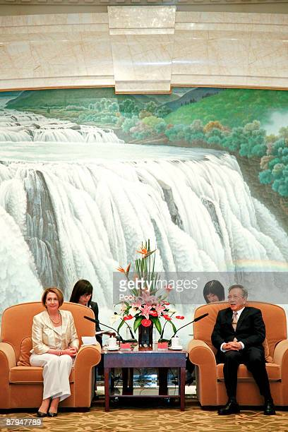 Speaker of the House Nancy Pelosi meets with Liu Yungeng chairman of Shanghai's Municipal People's Congress on May 24 2009 in Shanghai China Pelosi...
