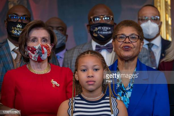 Speaker of the House Nancy Pelosi meets with the family of George Floyd at the U.S. Capitol on May 25, 2021 in Washington, DC. Floyd was murdered...