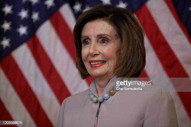 Speaker of the House Nancy Pelosi participates in a press availability where she presented Rep Emanuel Cleaver with a basket with items from the San...