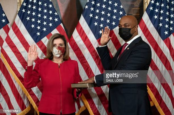 DC: Speaker Pelosi Holds Ceremonial Swearing-In For Congressman-Elect Kwanza Hall From Georgia
