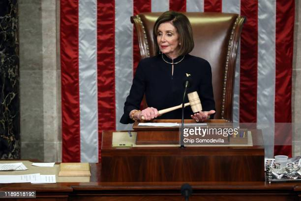 Speaker of the House Nancy Pelosi presides over Resolution 755 as the House of Representatives votes on the second article of impeachment of US...