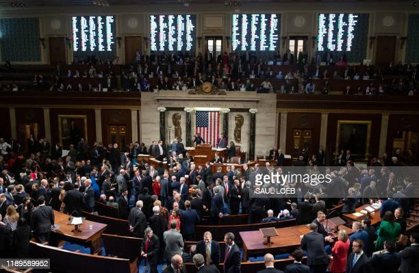 Speaker of the House Nancy Pelosi presides over Resolution 755, Articles of Impeachment Against President Donald J. Trump as the House votes at the...
