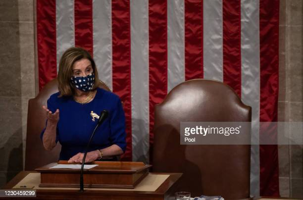 Speaker of the House Nancy Pelosi presides over the US House after they reconvened following protests at the US Capitol in Washington, DC. Members of...