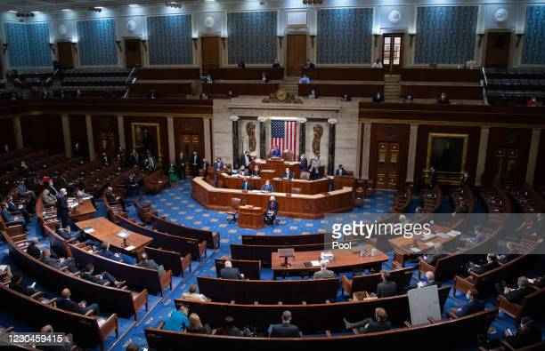 Speaker of the House Nancy Pelosi presides over the US House after they reconvened following protests at the US Capitol on January 6, 2021 in...