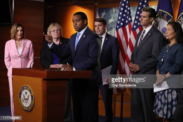 Speaker of the House Nancy Pelosi Rep Zoe Lofgren Rep Joe Neguse Rep Chris Pappas Rep John Sarbanes and Rep Deb Haaland hold a news conference to...
