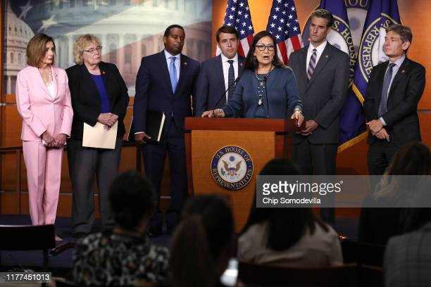 Speaker of the House Nancy Pelosi Rep Zoe Lofgren Rep Joe Neguse Rep Chris Pappas Rep Deb Haaland Rep John Sarbanes and Rep Tom Malinowski hold a...