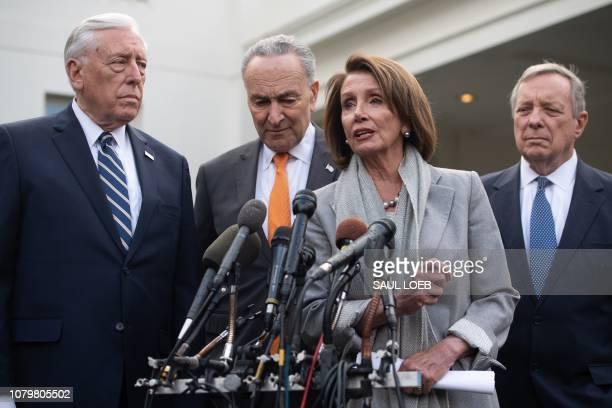 Speaker of the House Nancy Pelosi , Senate Democratic Leader Chuck Schumer , House Democratic Whip Steny Hoyer and Senate Democratic Whip Dick Durbin...