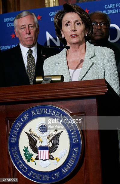 S Speaker of the House Nancy Pelosi speaks as House Majority Leader Steny Hoyer and Rep James Clyburn look on during a news conference on Capitol...