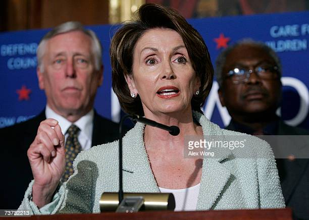S Speaker of the House Nancy Pelosi speaks as House Majority Leader Rep Steny Hoyer and Rep James Clyburn look on at a news conference on Capitol...
