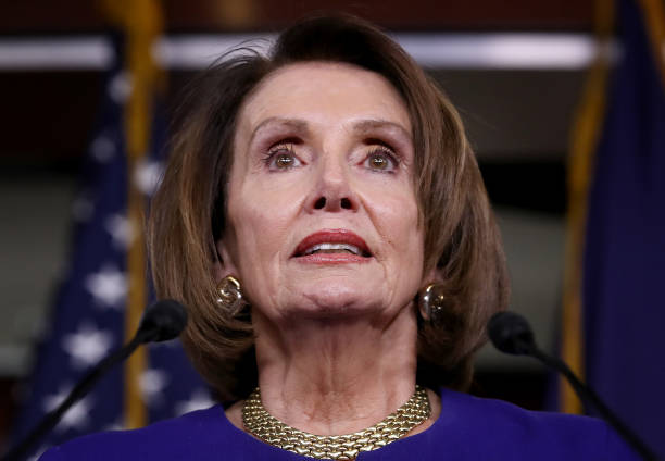 Speaker of the House Nancy Pelosi speaks at a press conference at the U.S. Capitol following an aborted White House meeting with U.S. President...