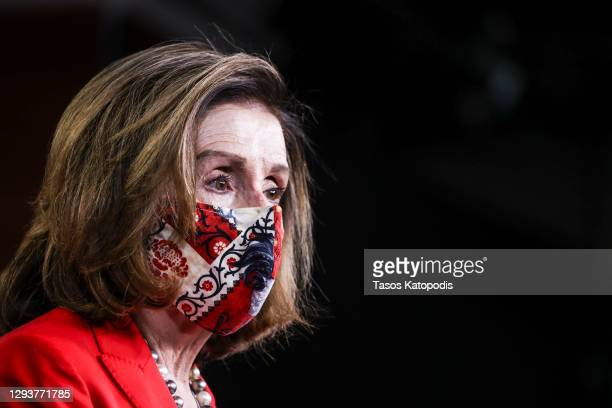 Speaker of the House Nancy Pelosi speaks at her weekly news conference on Capitol Hill on December 30, 2020 in Washington, DC. Speaker Pelosi began...