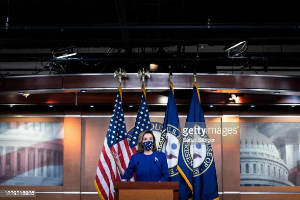 Speaker of the House Nancy Pelosi speaks during a news conference at the U.S. Capitol on October 22, 2020 in Washington, DC. Speaker Pelosi spoke...