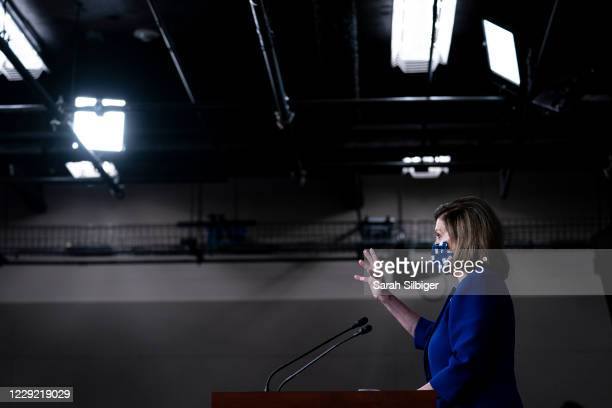 Speaker of the House Nancy Pelosi speaks during a news conference at the US Capitol on October 22 2020 in Washington DC Speaker Pelosi spoke about...