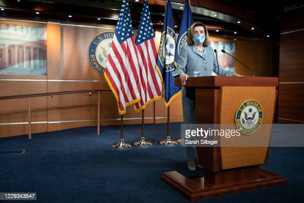 Speaker of the House Nancy Pelosi speaks during a news conference at the US Capitol on October 29 2020 in Washington DC Speaker Pelosi spoke about...