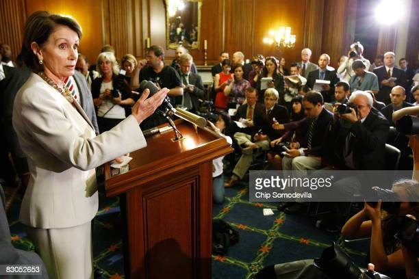 Speaker of the House Nancy Pelosi speaks during a news conference on Capitol Hill September 29 2008 in Washington DC The House failed to pass the...