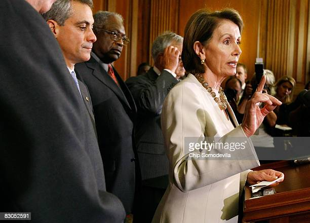 Speaker of the House Nancy Pelosi speaks during a news conference with Rep Rahm Emanuel and Majority Whip James Clyburn on Capitol Hill September 29...