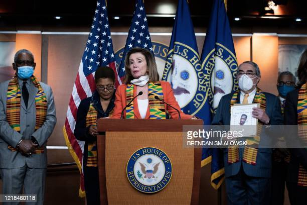 Speaker of the House Nancy Pelosi speaks during a press conference on Capitol Hill to announce police reform legislation in the wake of protests...