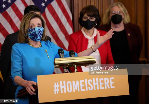Speaker of the House Nancy Pelosi speaks during a press conference on immigration at the U.S. Capitol March 18, 2021 in Washington, DC. Pelosi was...