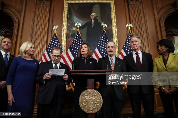 Speaker of the House Nancy Pelosi speaks during a press conference after the House of Representatives voted to impeach President Donald Trump at the...