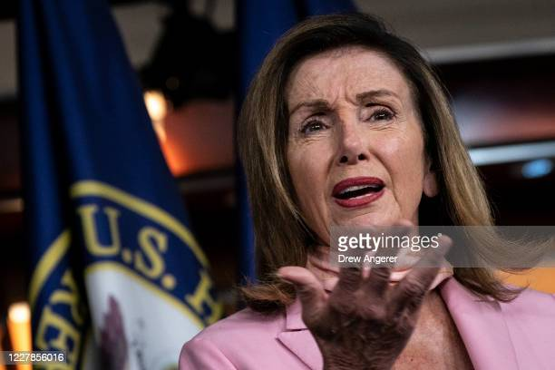 Speaker of the House Nancy Pelosi speaks during her weekly news conference at the U.S. Capitol on July 31, 2020 in Washington, DC. Speaker Pelosi and...
