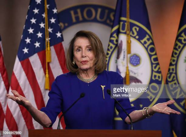 S Speaker of the House Nancy Pelosi speaks during her weekly press conference on February 7 2019 in Washington DC Pelosi answered a questions about...