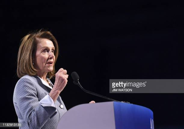 Speaker of the House Nancy Pelosi speaks during the AIPAC annual meeting in Washington DC on March 26 2019
