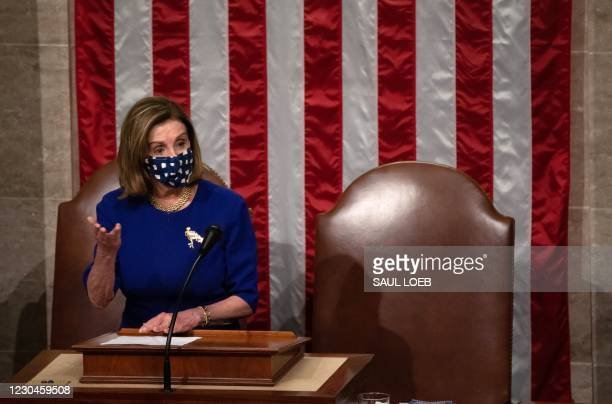 Speaker of the House Nancy Pelosi speaks in the House Chamber during a reconvening of a joint session of Congress on January 6, 2021 in Washington,...