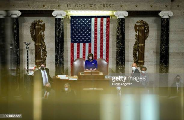 Speaker of the House Nancy Pelosi speaks in the House Chamber during a reconvening of a joint session of Congress on January 06, 2021 in Washington,...