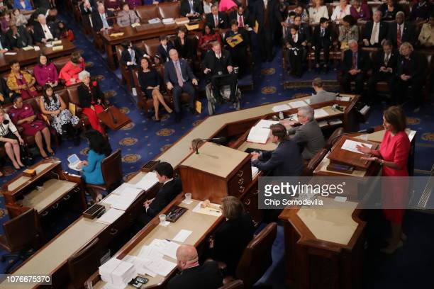Speaker of the House Nancy Pelosi speaks to members of Congress after being elected during the first session of the 116th Congress at the US Capitol...