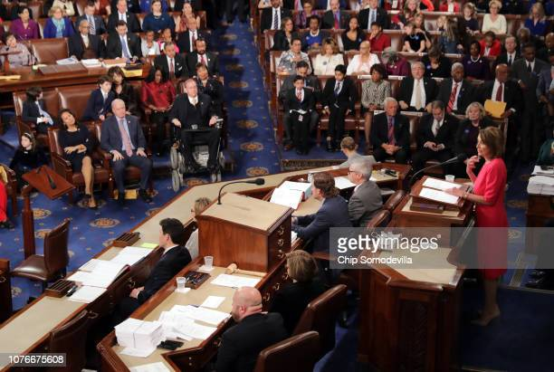 Speaker of the House Nancy Pelosi speaks to members of Congress after being elected House Speaker during the first session of the 116th Congress at...