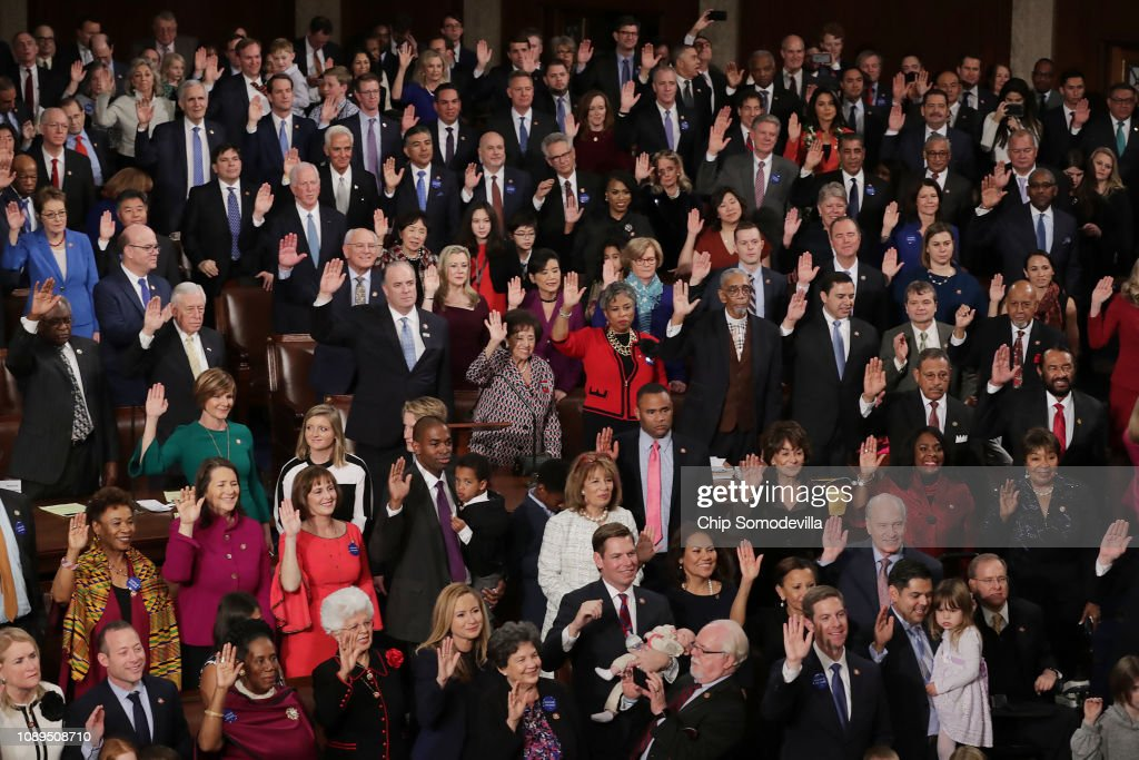 House Of Representatives Convenes For First Session Of 2019 To Elect Nancy Pelosi (D-CA) As Speaker Of The House : News Photo