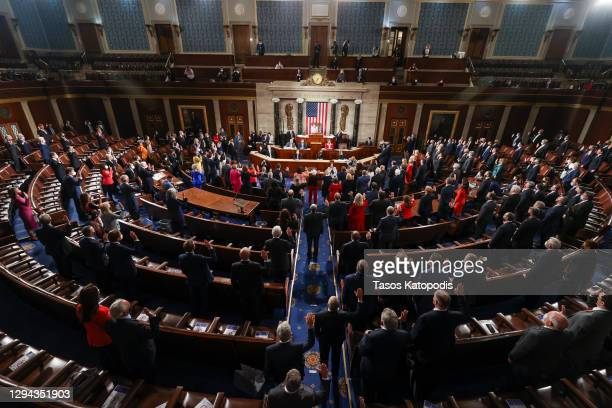 Speaker of the House Nancy Pelosi swears in new members of congress during the first session of the 117th Congress in the House Chamber at the US...