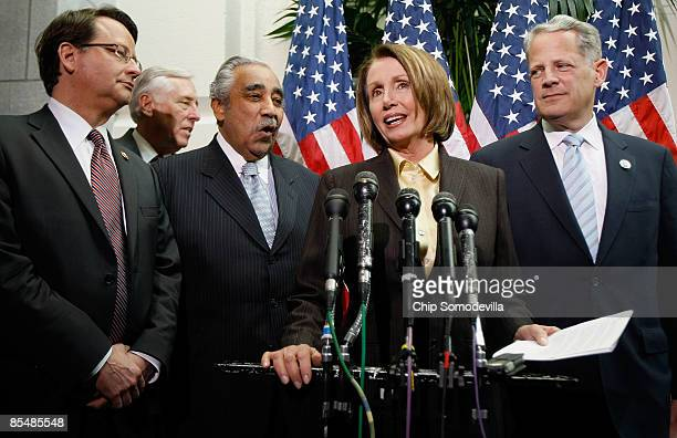 Speaker of the House Nancy Pelosi talks about tax legislation sparked by bonuses paid to employees of the American International Group during a news...