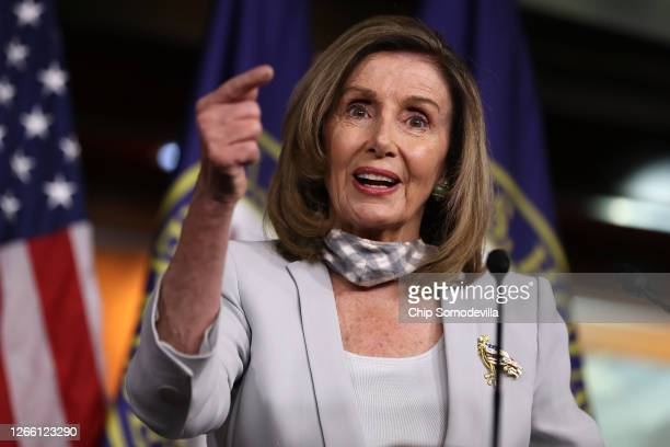 Speaker of the House Nancy Pelosi talks to reporters during a news conference in the U.S. Capitol Visitors Center August 13, 2020 in Washington, DC....