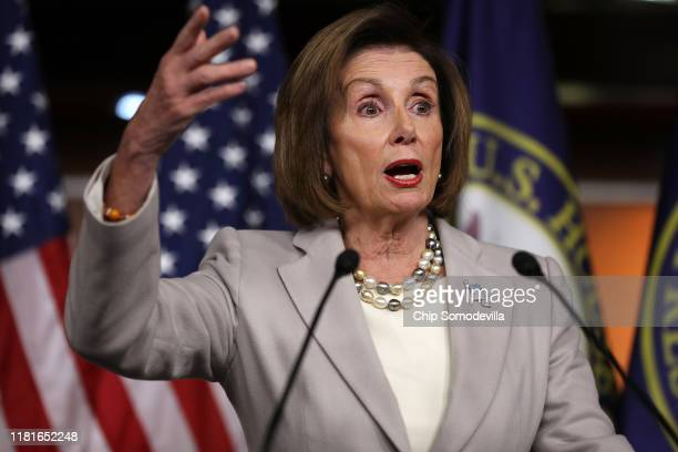 Speaker of the House Nancy Pelosi talks to reporters during her weekly news conference at the US Capitol October 17 2019 in Washington DC Pelosi...