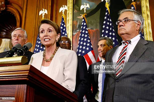 Speaker of the House Nancy Pelosi talks to the news media during a news conference with House Majority Leader Steny Hoyer Majority Whip James Clyburn...