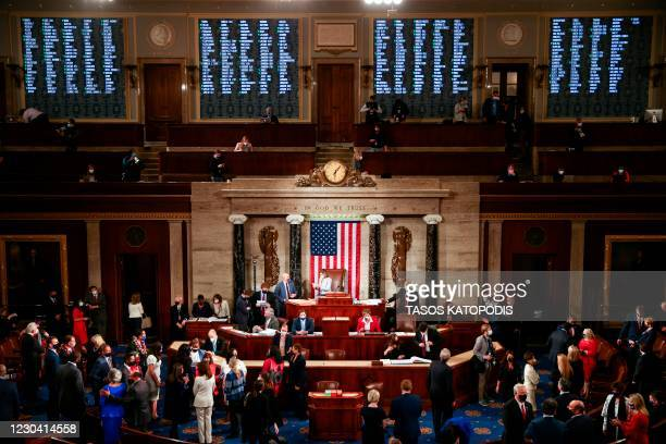 Speaker of the House Nancy Pelosi waits during votes in the first session of the 117th Congress in the House Chamber at the US Capitol on January 3,...