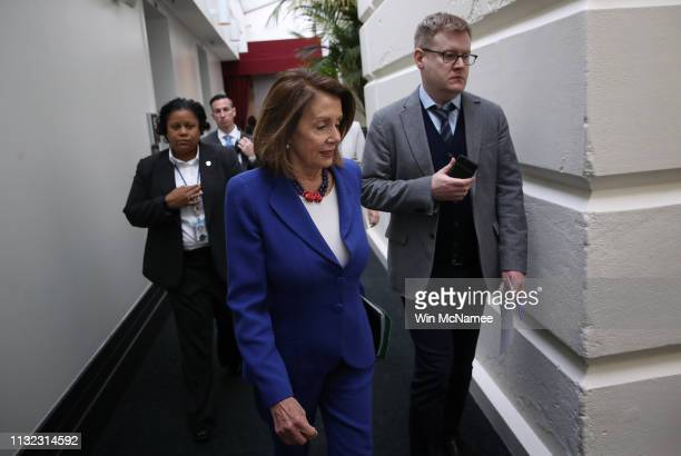 S Speaker of the House Nancy Pelosi walks to a weekly caucus meeting of House Democrats in the US Capitol February 26 2019 in Washington DC The House...